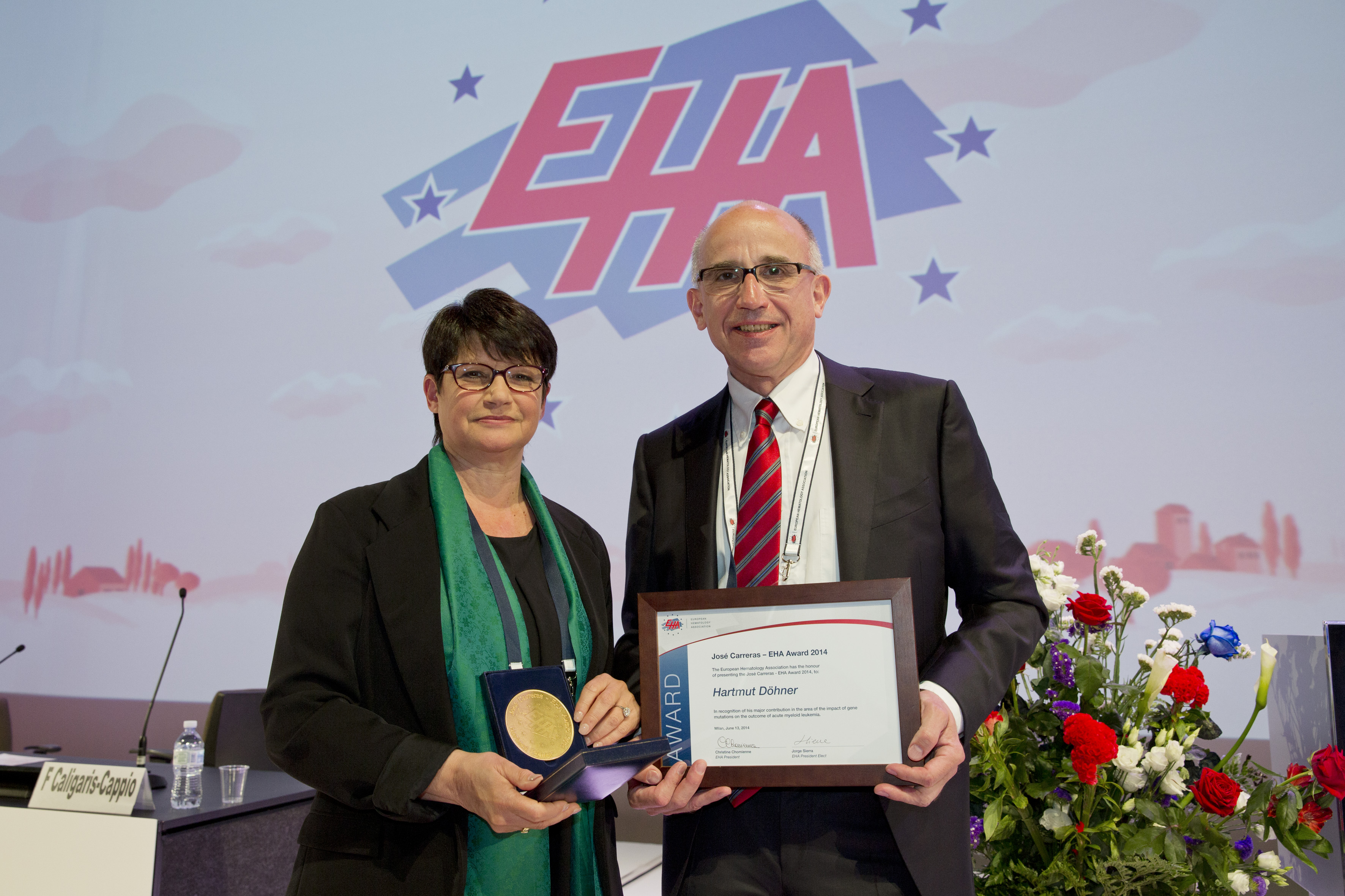 v.l. Christine Chomienne (EHA President), Prof. Dr. Hartmut Döhner_Foto: EHA